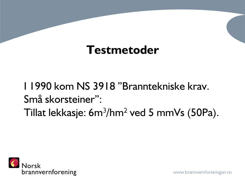 Testmetoder I 1990 kom NS 3918 Branntekniske krav. Små skorsteiner :