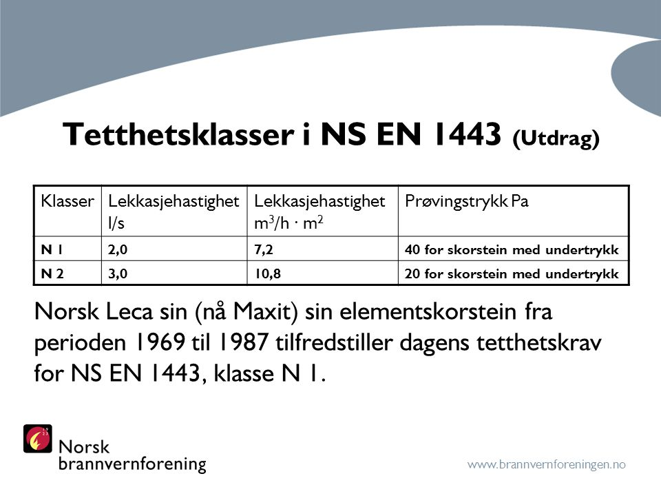 Tetthetsklasser i NS EN 1443 (Utdrag)