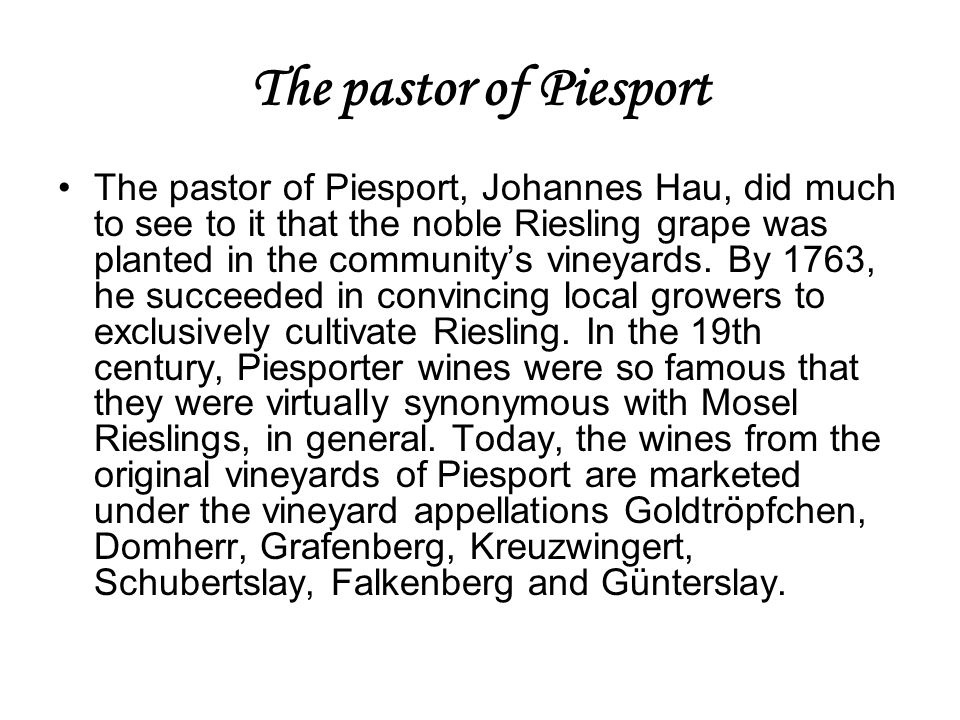 The pastor of Piesport