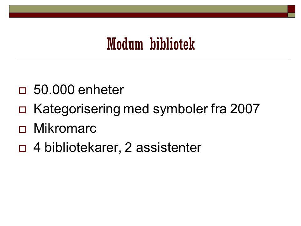 Modum bibliotek 50.000 enheter Kategorisering med symboler fra 2007