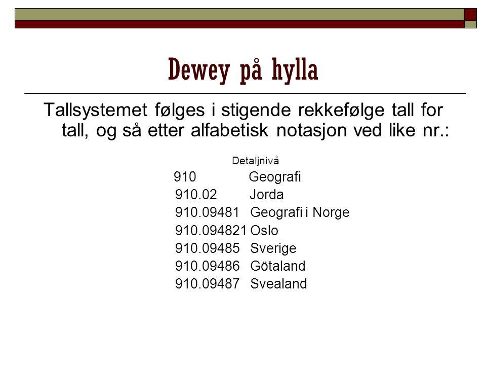 Dewey på hylla Tallsystemet følges i stigende rekkefølge tall for tall, og så etter alfabetisk notasjon ved like nr.: