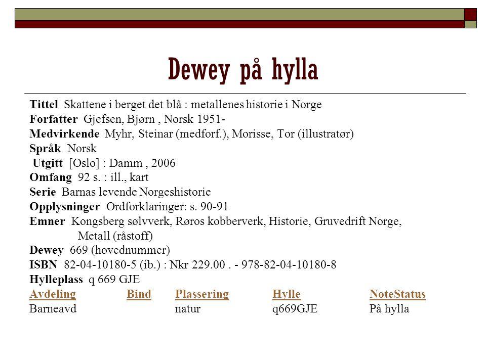 Dewey på hylla Tittel Skattene i berget det blå : metallenes historie i Norge. Forfatter Gjefsen, Bjørn , Norsk 1951-