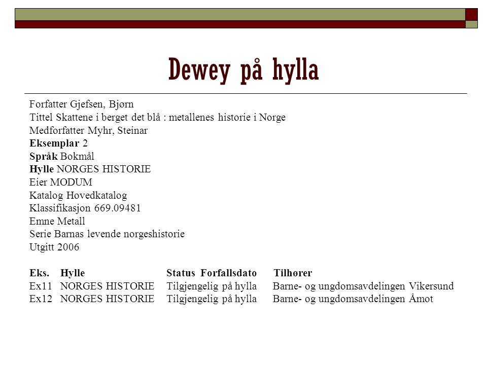 Dewey på hylla Forfatter Gjefsen, Bjørn