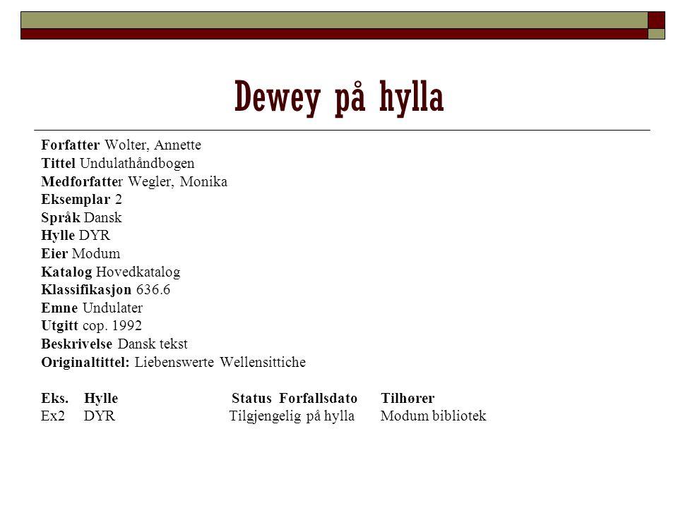 Dewey på hylla Forfatter Wolter, Annette Tittel Undulathåndbogen