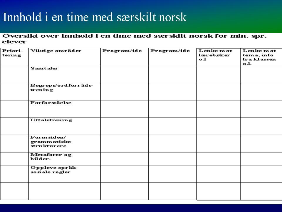 Innhold i en time med særskilt norsk