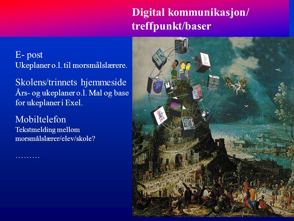 Digital kommunikasjon/ treffpunkt/baser