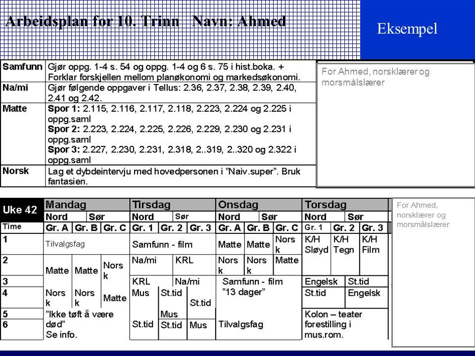 Arbeidsplan for 10. Trinn Navn: Ahmed