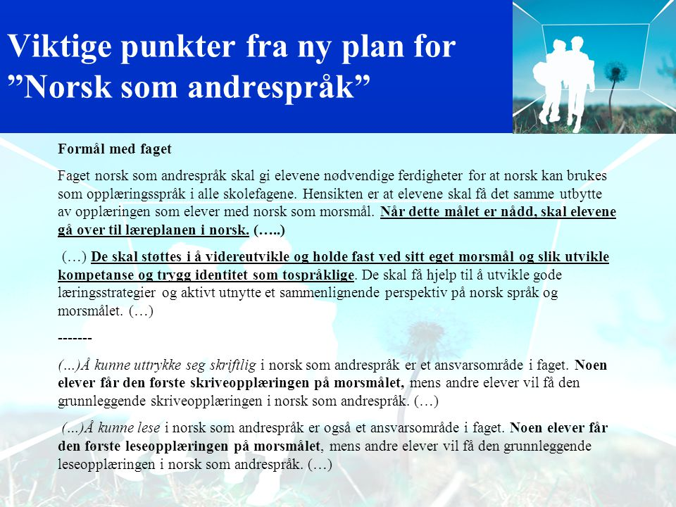 Viktige punkter fra ny plan for Norsk som andrespråk