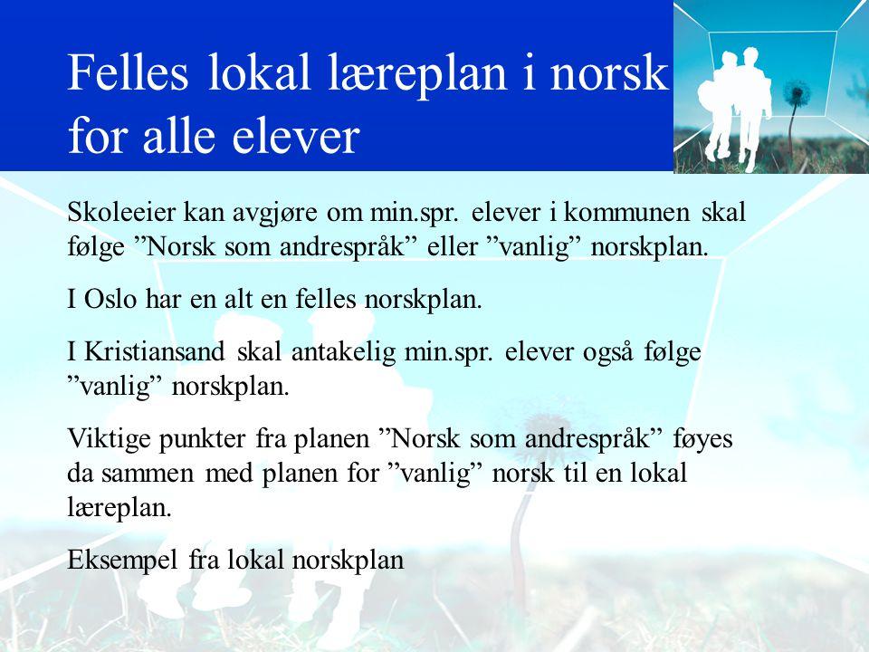 Felles lokal læreplan i norsk for alle elever