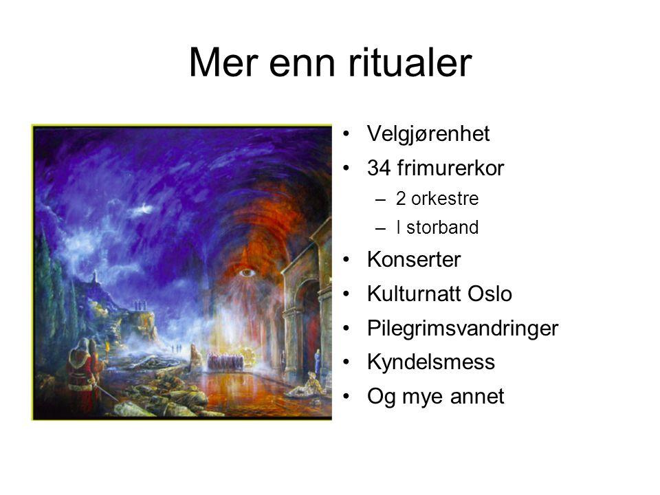 Mer enn ritualer Velgjørenhet 34 frimurerkor Konserter Kulturnatt Oslo
