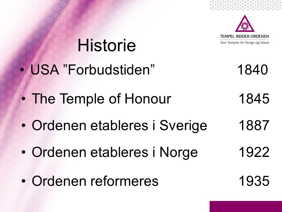 Historie USA Forbudstiden 1840 The Temple of Honour 1845