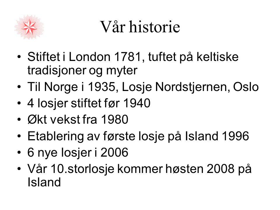 Vår historie Stiftet i London 1781, tuftet på keltiske tradisjoner og myter. Til Norge i 1935, Losje Nordstjernen, Oslo.