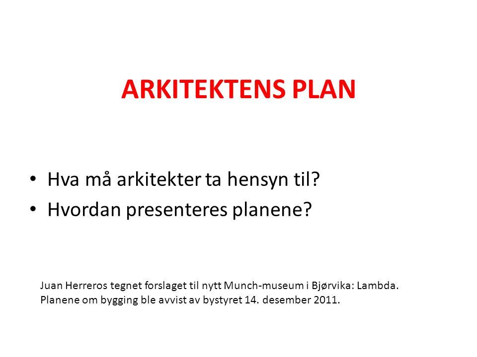 ARKITEKTENS PLAN Hva må arkitekter ta hensyn til