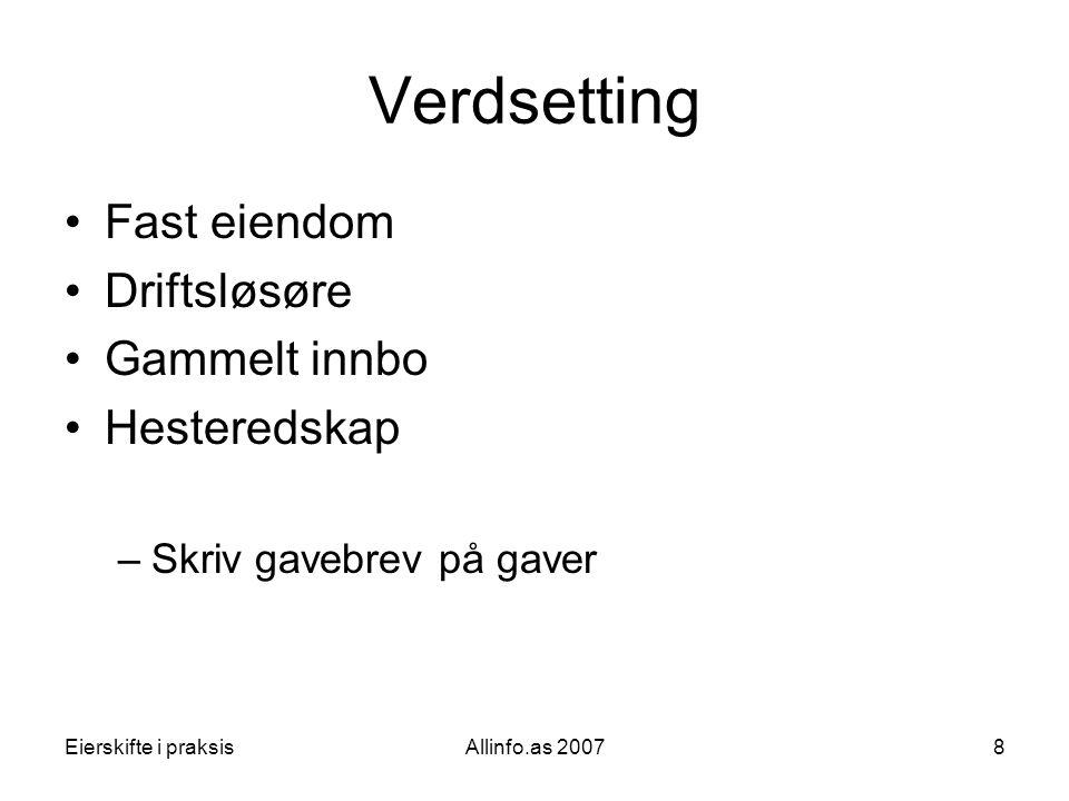 Verdsetting Fast eiendom Driftsløsøre Gammelt innbo Hesteredskap