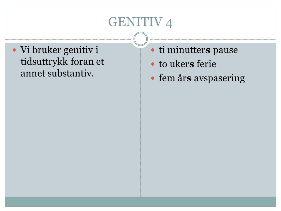 GENITIV 4 Vi bruker genitiv i tidsuttrykk foran et annet substantiv.