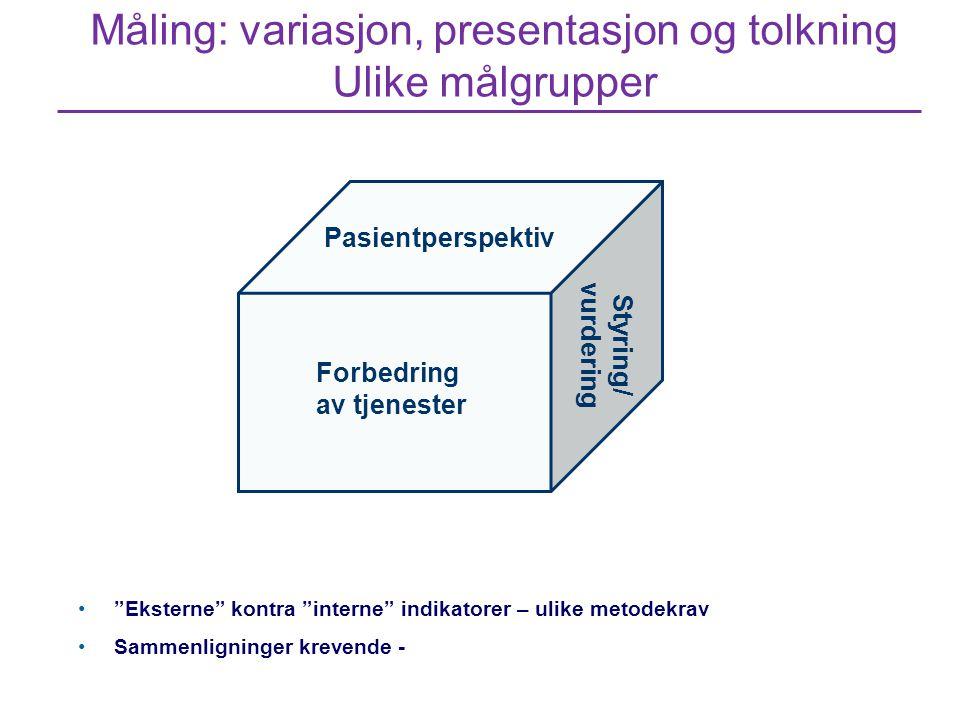 Måling: variasjon, presentasjon og tolkning Ulike målgrupper