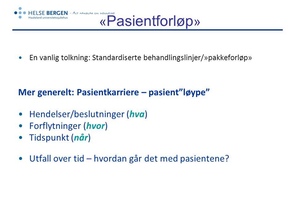 «Pasientforløp» Mer generelt: Pasientkarriere – pasient løype