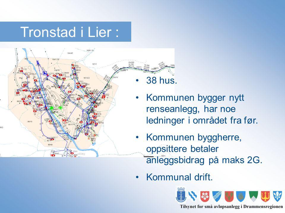 Tronstad i Lier : 38 hus. Kommunen bygger nytt renseanlegg, har noe ledninger i området fra før.