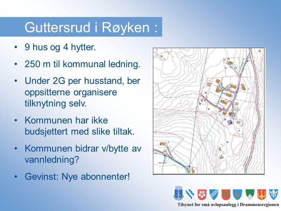 Guttersrud i Røyken : 9 hus og 4 hytter. 250 m til kommunal ledning.
