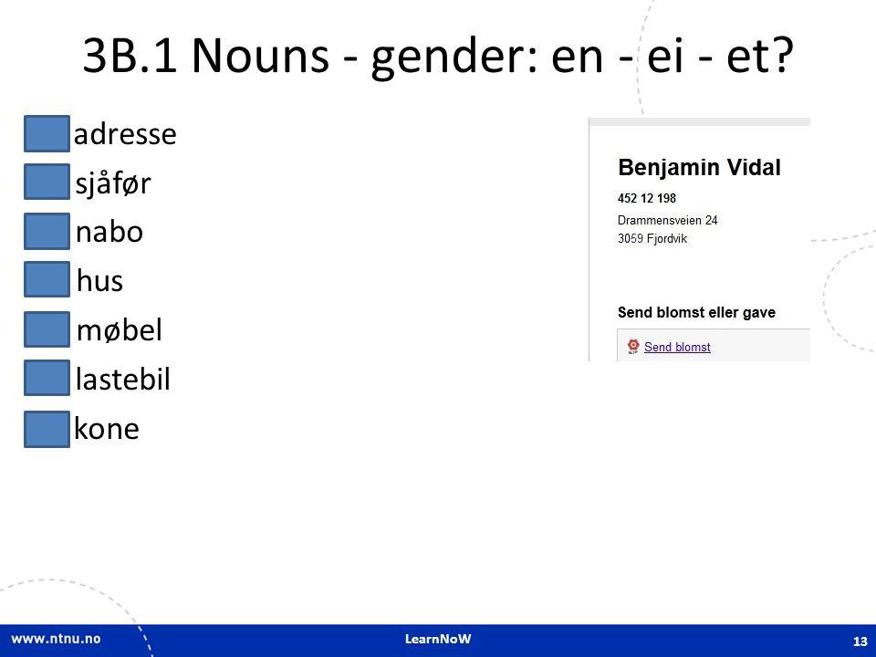 3B.1 Nouns - gender: en - ei - et