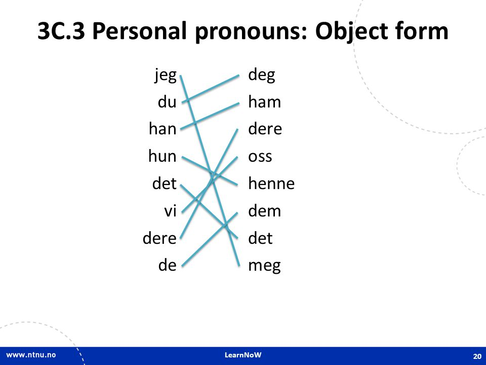 3C.3 Personal pronouns: Object form