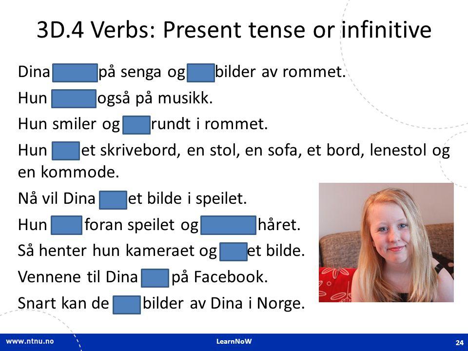 3D.4 Verbs: Present tense or infinitive