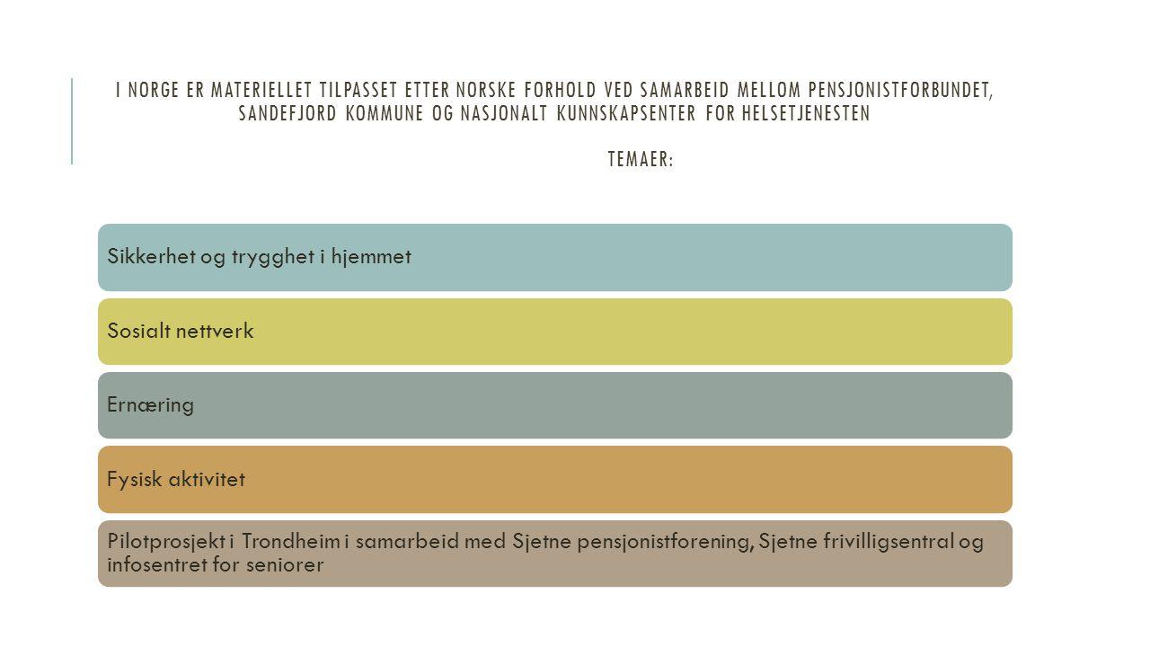 I norge er materiellet tilpasset etter norske forhold ved samarbeid mellom pensjonistforbundet, sandefjord kommune og nasjonalt kunnskapsenter for helsetjenesten temaer: