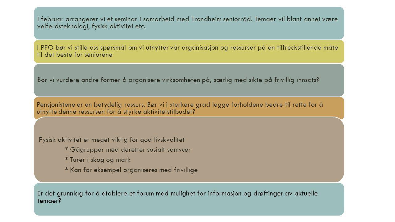 I februar arrangerer vi et seminar i samarbeid med Trondheim seniorråd