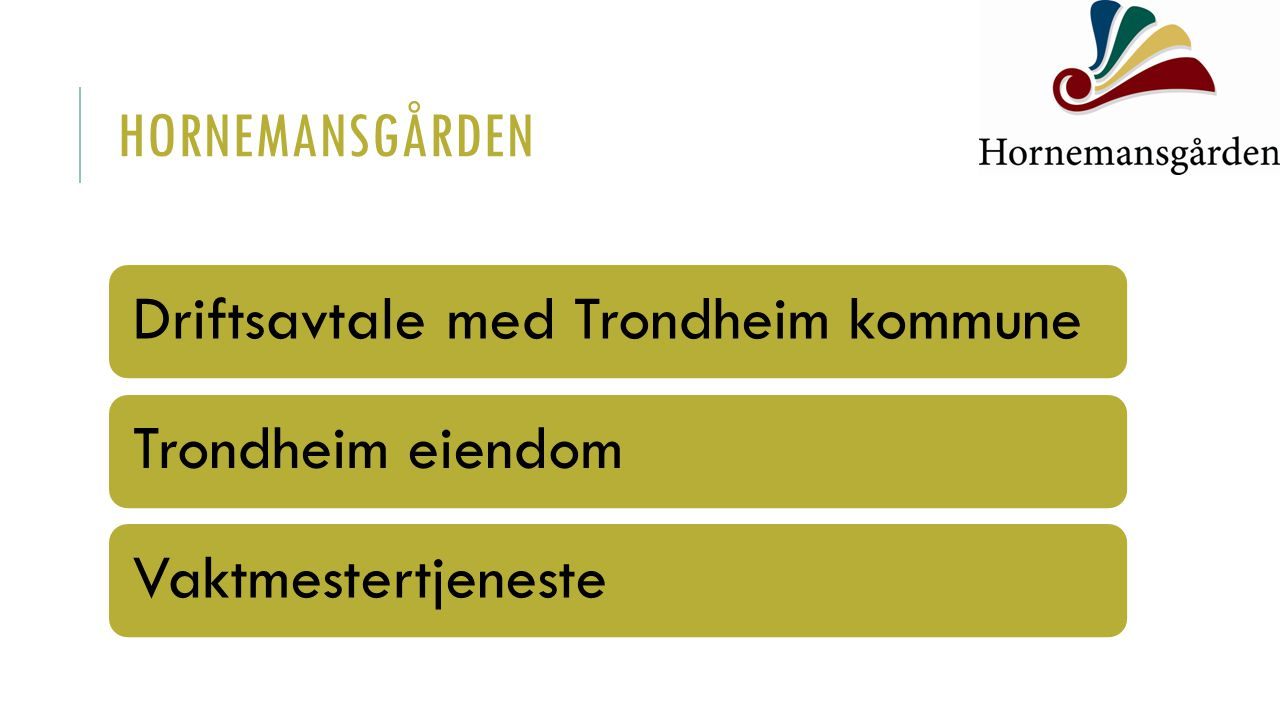 Hornemansgården Driftsavtale med Trondheim kommune Trondheim eiendom