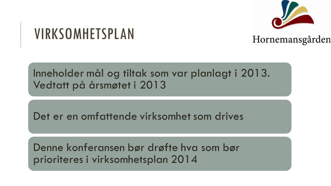Virksomhetsplan Inneholder mål og tiltak som var planlagt i 2013. Vedtatt på årsmøtet i 2013. Det er en omfattende virksomhet som drives.