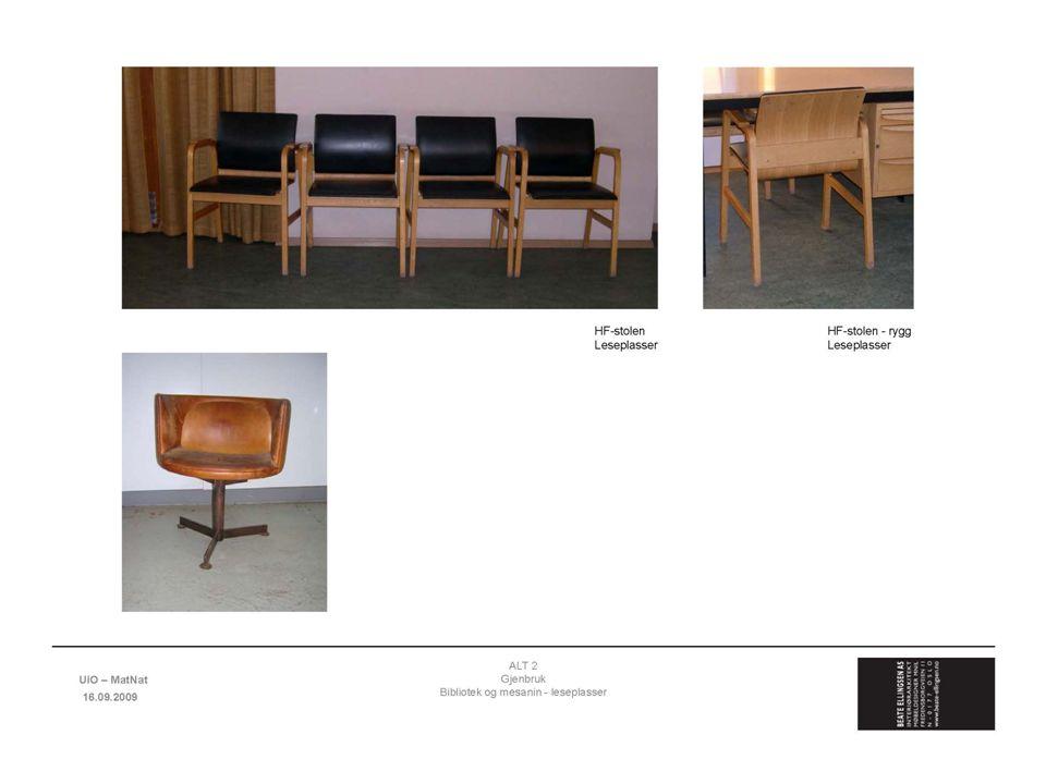 Gjenbruk av opprinnelige Blindernmøbler, bl.a. HF-stolen
