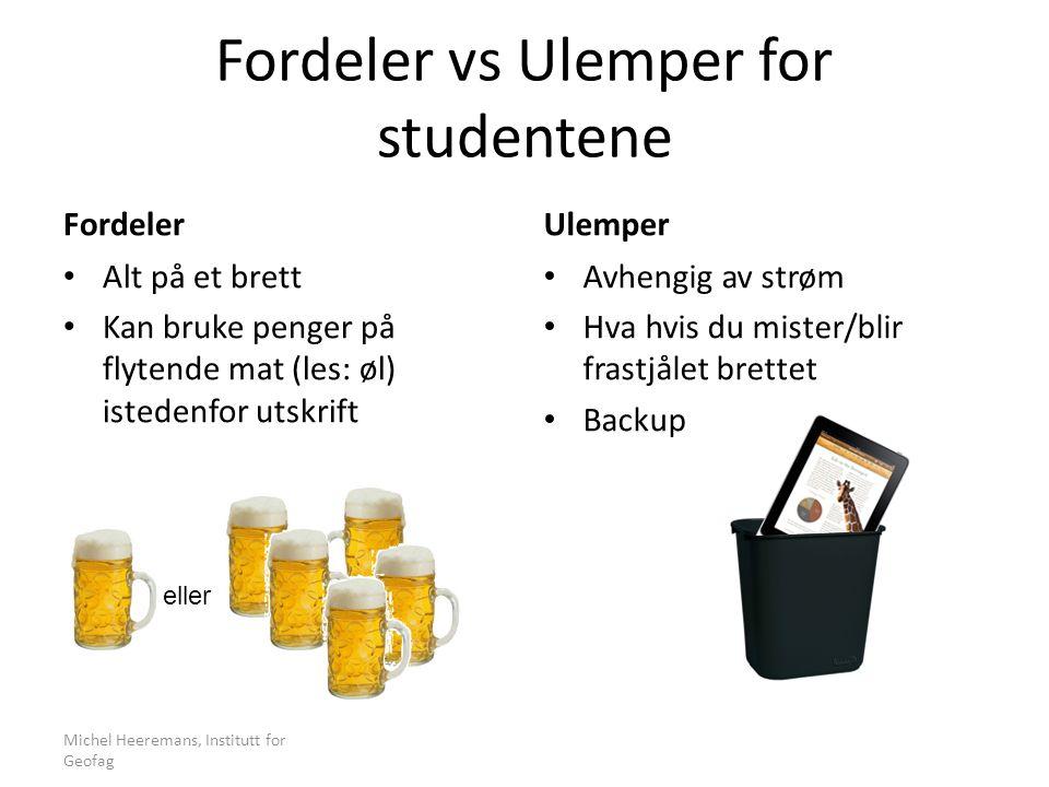 Fordeler vs Ulemper for studentene