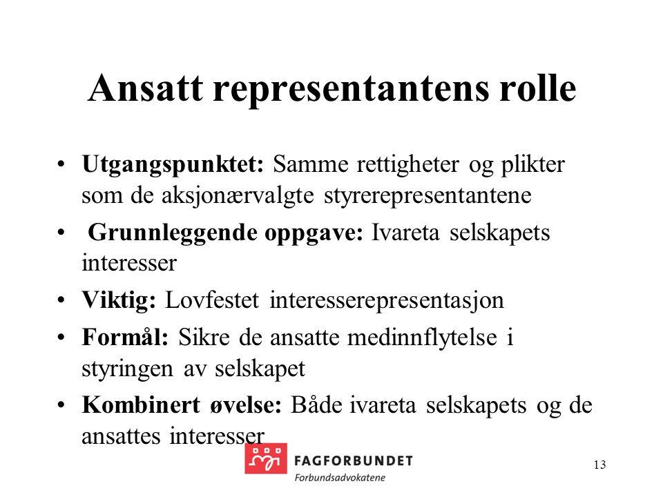 Ansatt representantens rolle