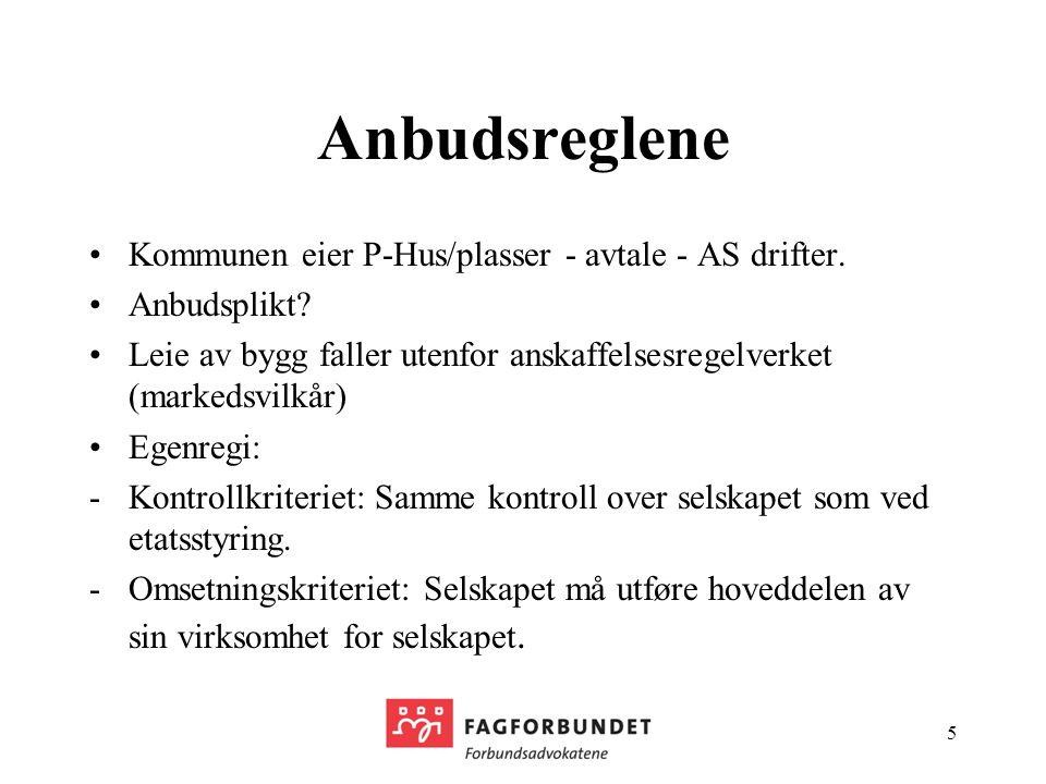 Anbudsreglene Kommunen eier P-Hus/plasser - avtale - AS drifter.