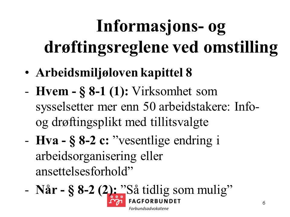 Informasjons- og drøftingsreglene ved omstilling