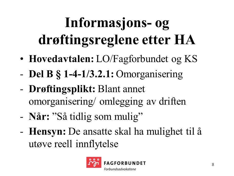 Informasjons- og drøftingsreglene etter HA