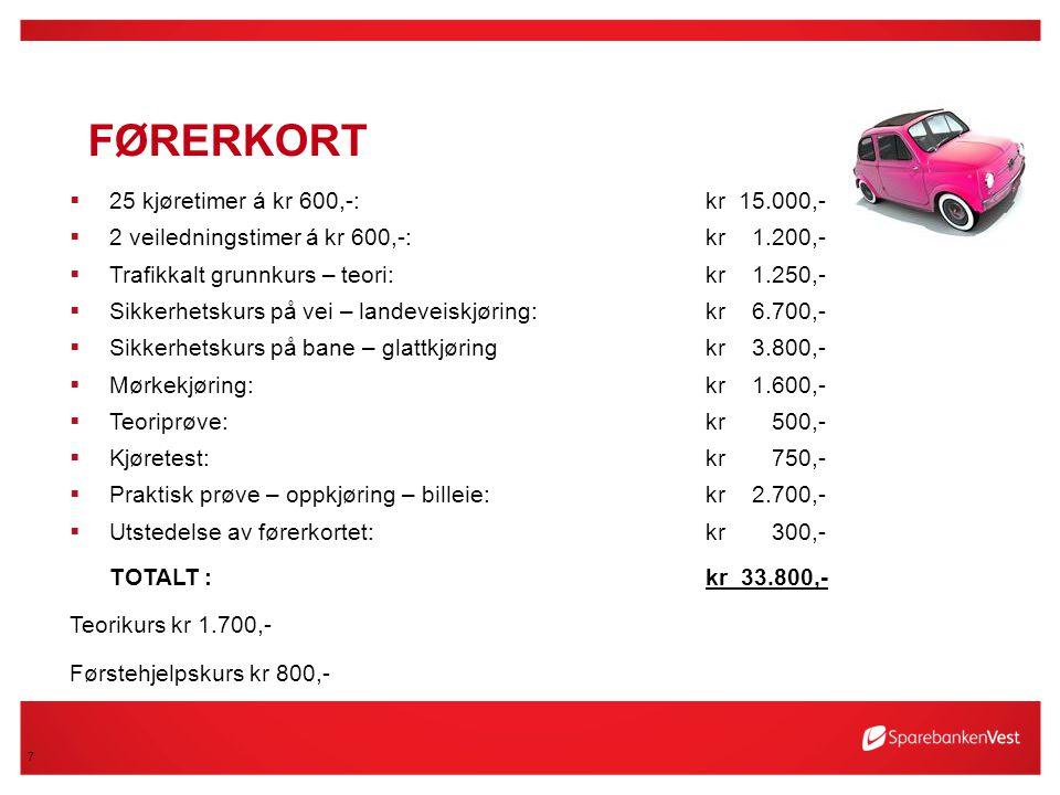 Førerkort 25 kjøretimer á kr 600,-: kr 15.000,-