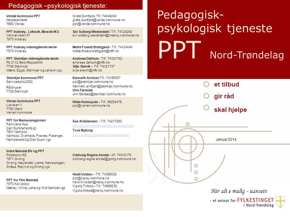 Pedagogisk-psykologisk tjeneste PPT Nord-Trøndelag