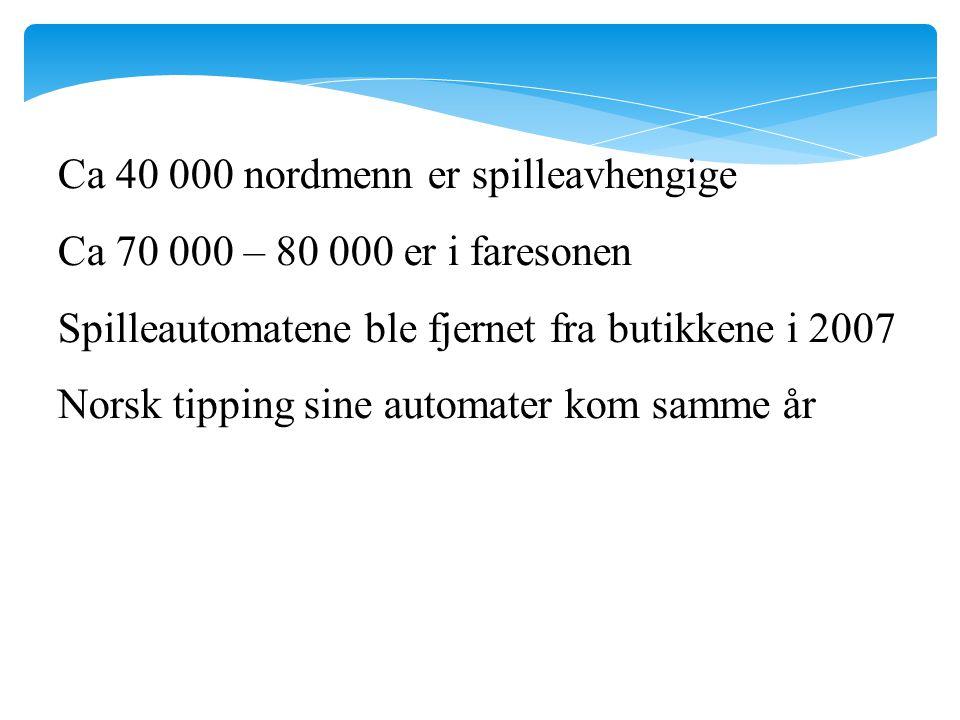 Ca 40 000 nordmenn er spilleavhengige