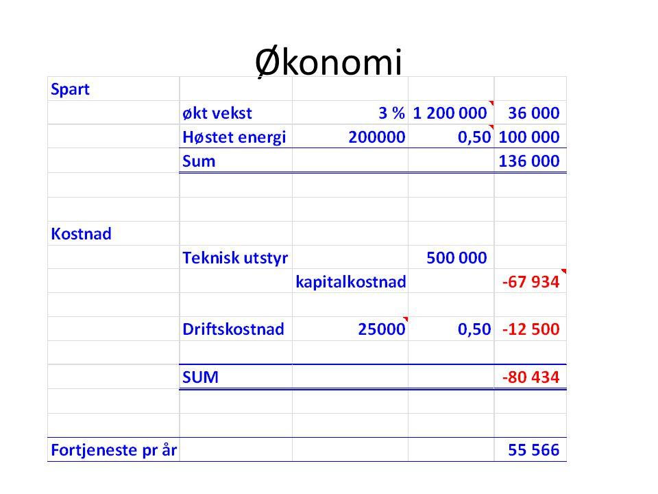 Økonomi Antatt COP ved høsting = 4