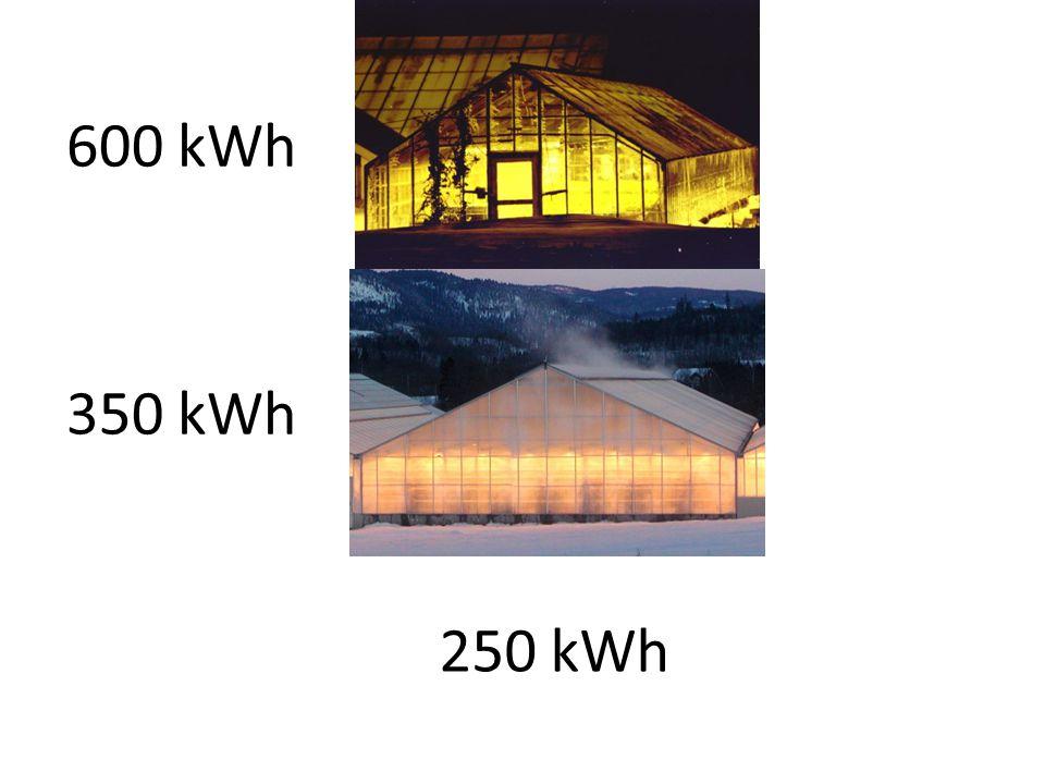 600 kWh 350 kWh 250 kWh Investering: 350 kroner pr m2