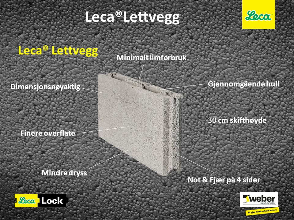 Leca®Lettvegg Leca® Lettvegg Minimalt limforbruk Gjennomgående hull
