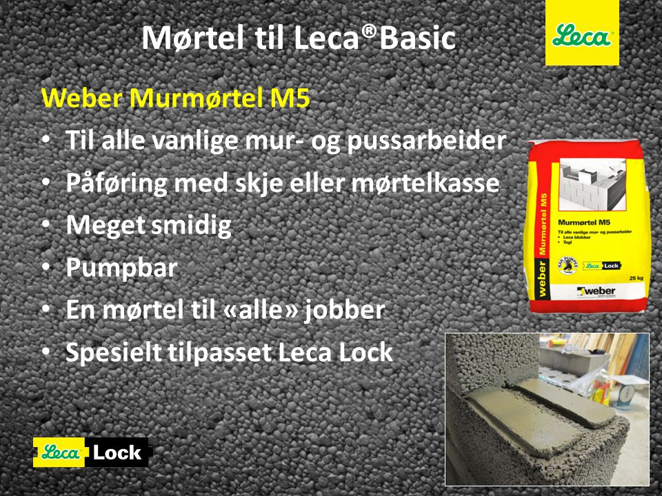 Mørtel til Leca®Basic Weber Murmørtel M5