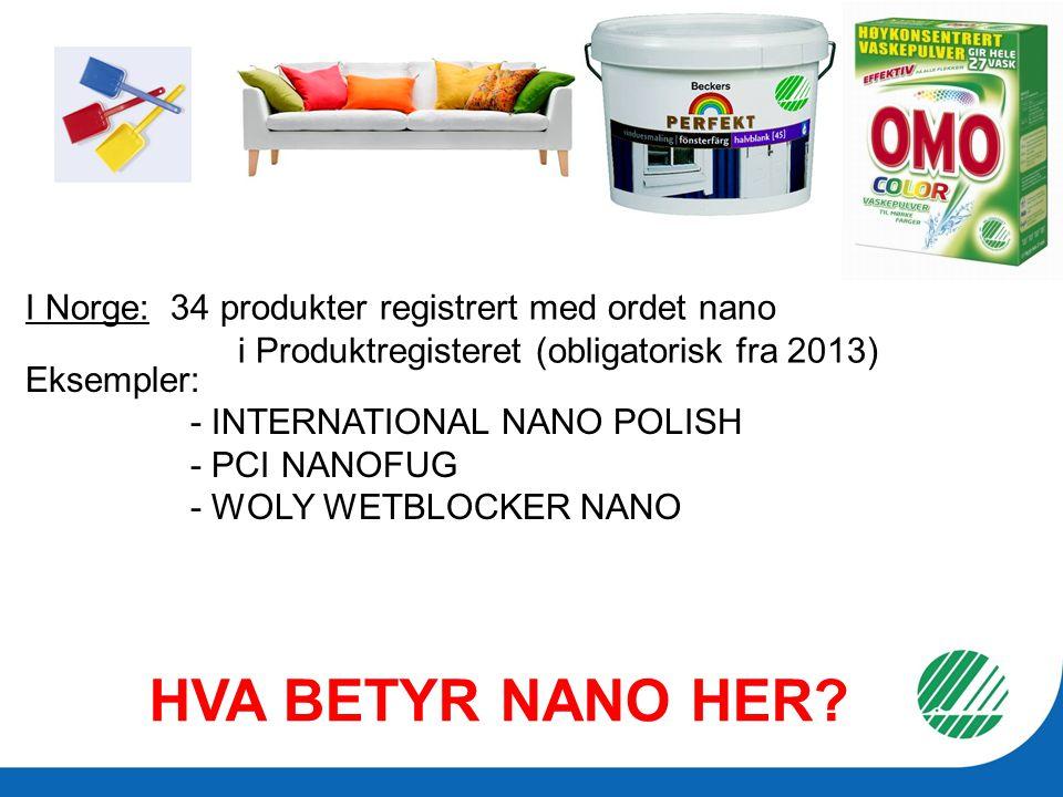 HVA BETYR NANO HER I Norge: 34 produkter registrert med ordet nano