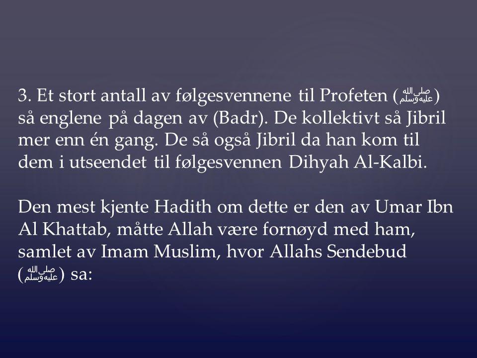 3. Et stort antall av følgesvennene til Profeten (ﷺ) så englene på dagen av (Badr). De kollektivt så Jibril mer enn én gang. De så også Jibril da han kom til dem i utseendet til følgesvennen Dihyah Al-Kalbi.