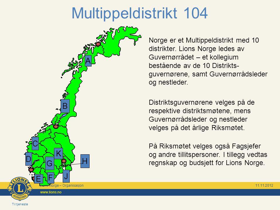 Lions Norge – Organisasjon 11.11.2012