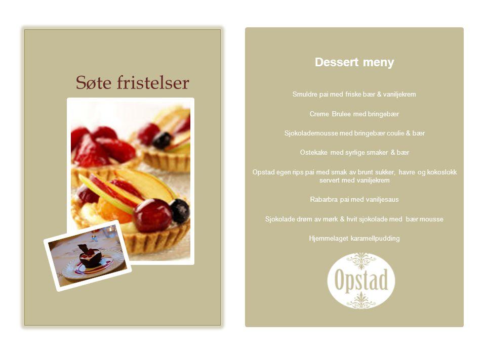 Søte fristelser Dessert meny Smuldre pai med friske bær & vaniljekrem