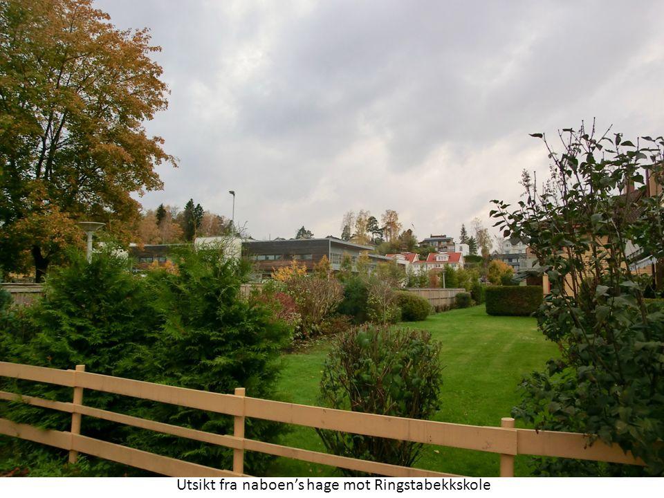 Utsikt fra naboen's hage mot Ringstabekkskole