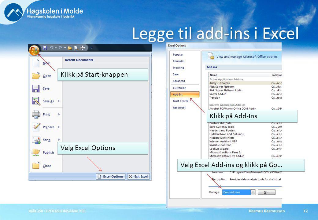 Legge til add-ins i Excel