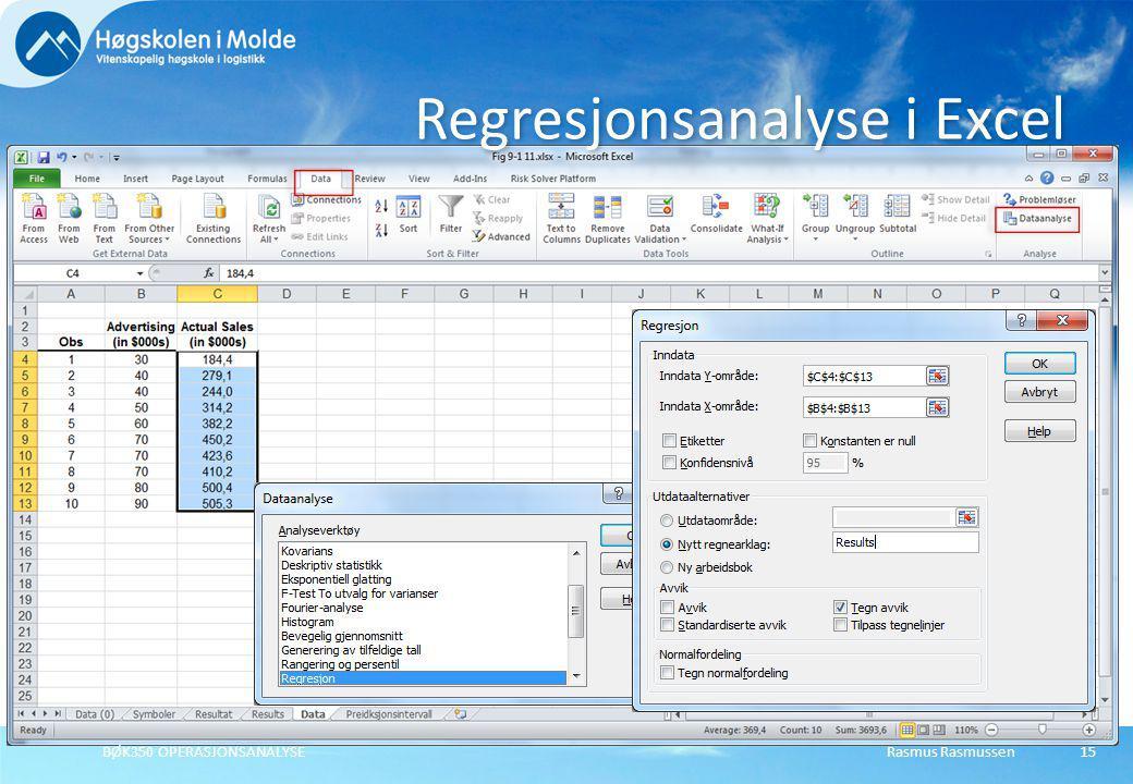 Regresjonsanalyse i Excel